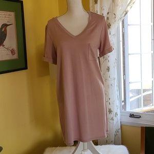 NEW Tresics Pink V Neck T Shirt Dress Size L